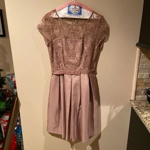 Taylor beige illusion dress with bow belt